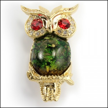 Green Owl Brooch