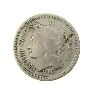 1868 Three Cents